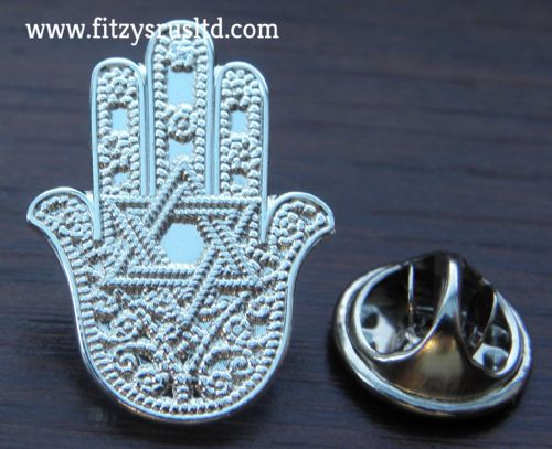 Hamsa / Star of David Lapel Hat Cap Tie Pin Badge Jew Jewish Hebrew Brooch Gift